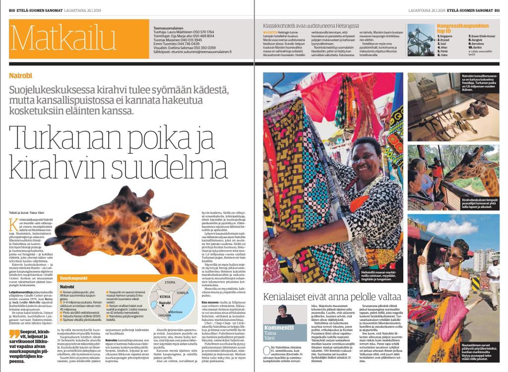 Kaakon Median sanomalehdet julkaisivat matkajuttuni Nairobin nähtävyyksistä.
